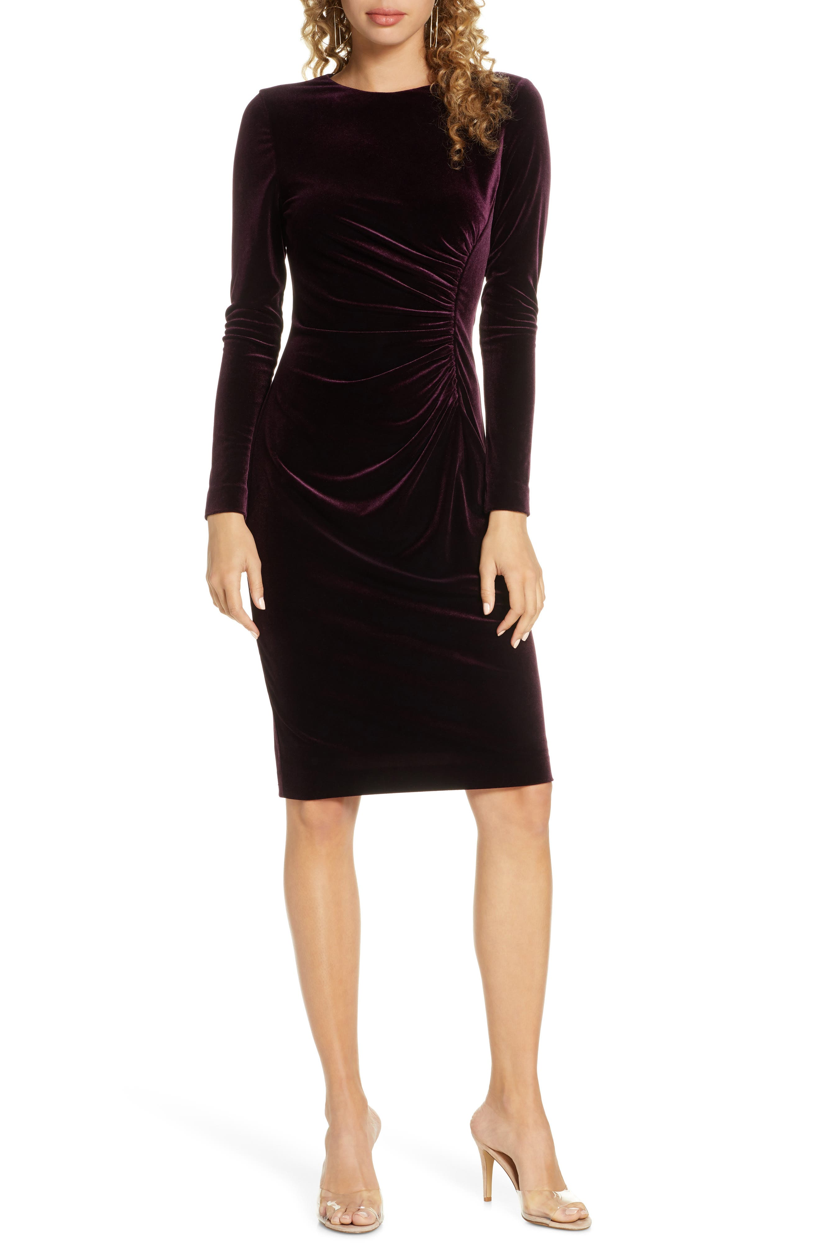 Long Sleeve Ruched Velvet Dress