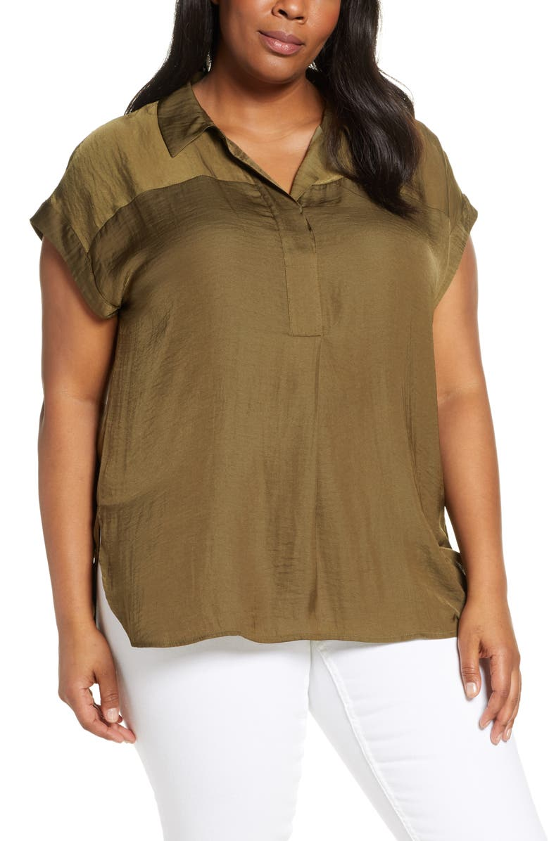 VINCE CAMUTO Collared Rumple Henley Blouse, Main, color, 344