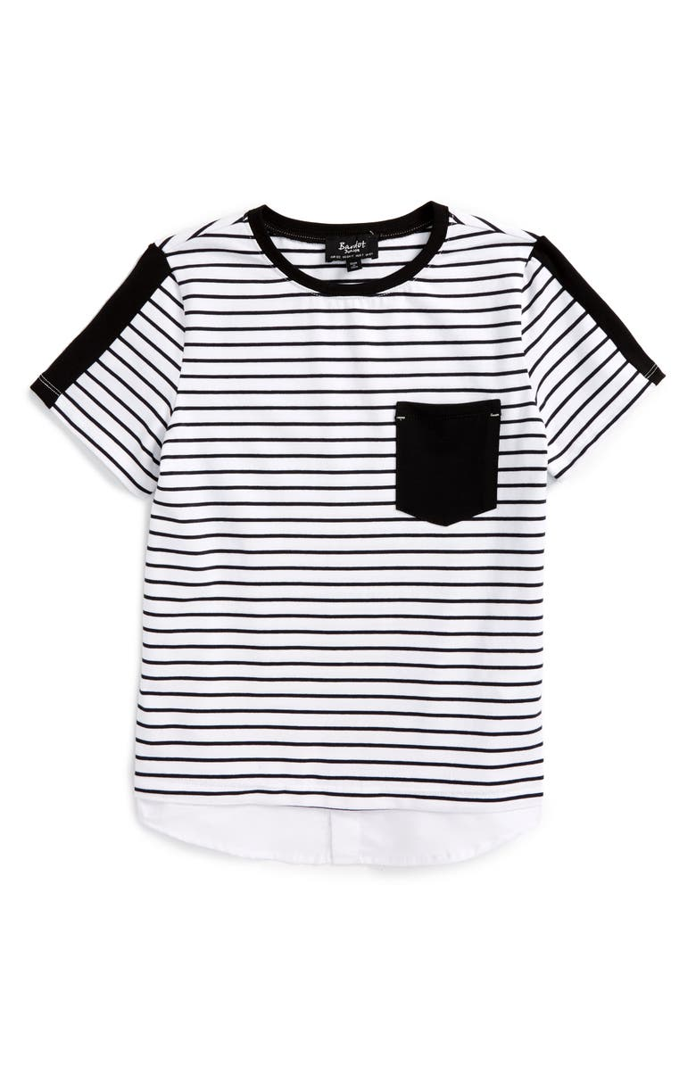 BARDOT JUNIOR Stripe T-Shirt, Main, color, 001