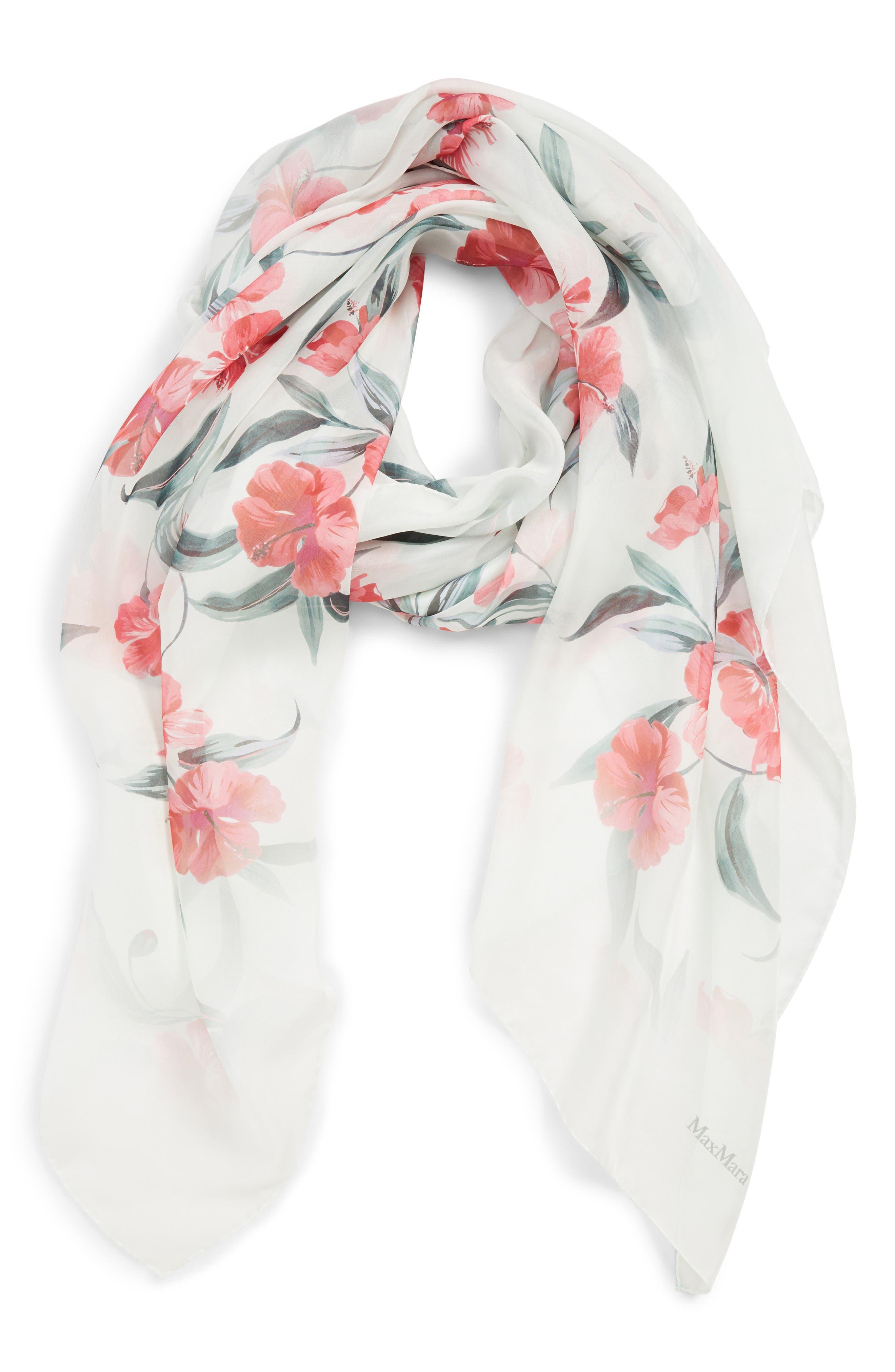 ,                             Dimma Floral Print Silk Scarf,                             Alternate thumbnail 2, color,                             POWDER