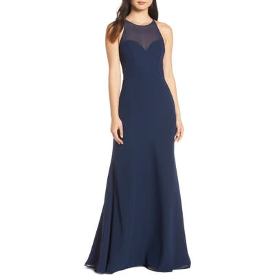 Hayley Paige Occasions Sheer Racerback Chiffon Evening Dress, Blue