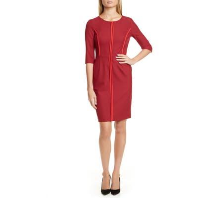 Hugo Kurena Contrast Piping Sheath Dress, Red