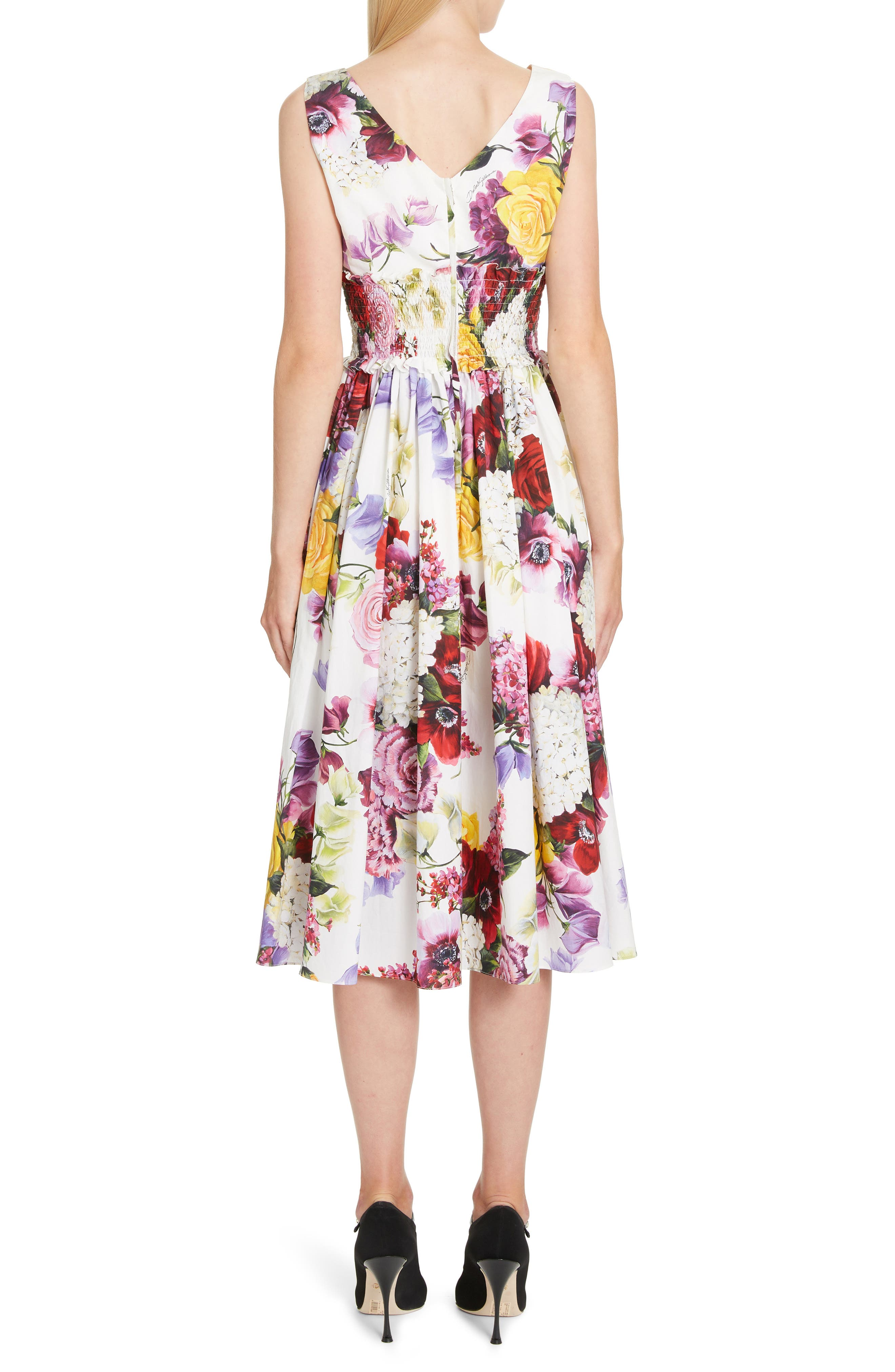 ,                             Floral Print Smock Waist Poplin Dress,                             Alternate thumbnail 2, color,                             PINK FLORAL