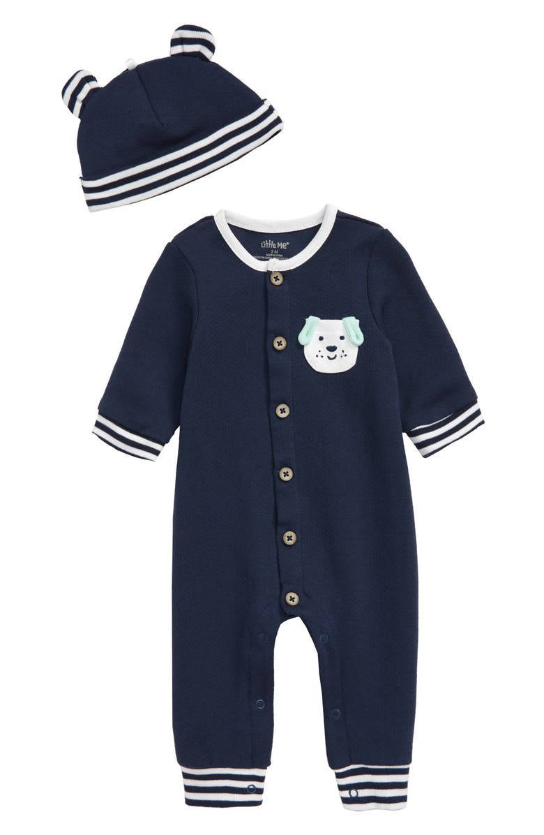 LITTLE ME Pup Pocket Romper & Hat Set, Main, color, BLUE