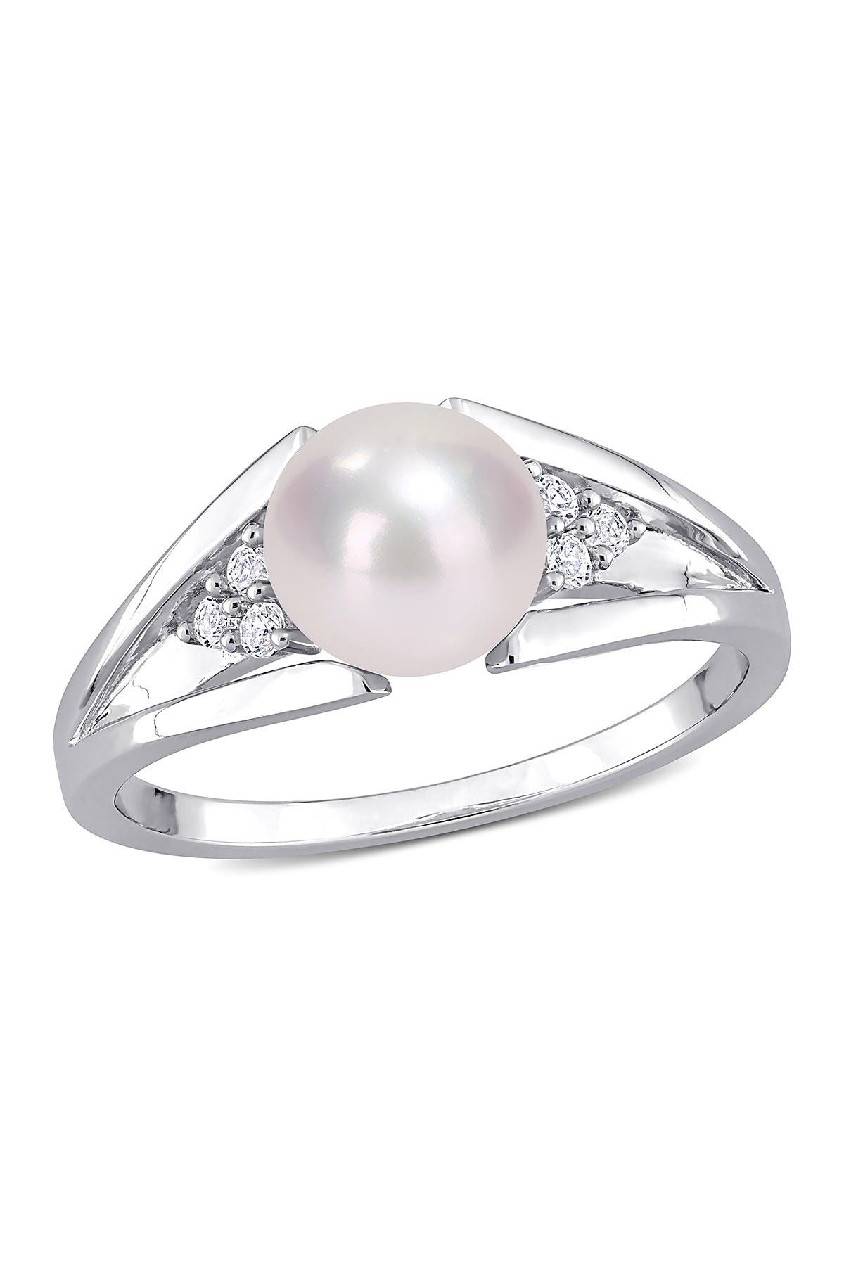 Image of Delmar Sterling Silver 7.5mm Cultured Freshwater Pearl & Diamond Ring - 0.04 ctw