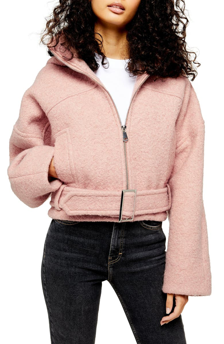 TOPSHOP Miller Wool Blend Hooded Moto Jacket, Main, color, PINK