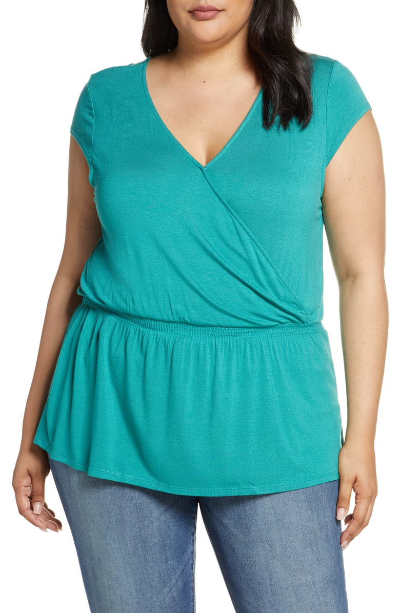GIBSON x Hot Summer Nights Almost Ready Smocked Jersey Peplum Top, Main, color, GREEN