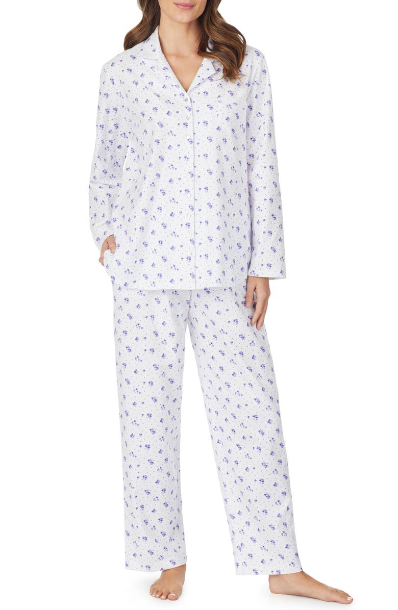 EILEEN WEST Cotton Pajamas, Main, color, WHT GRND WITH LVNDR FLRL DOT