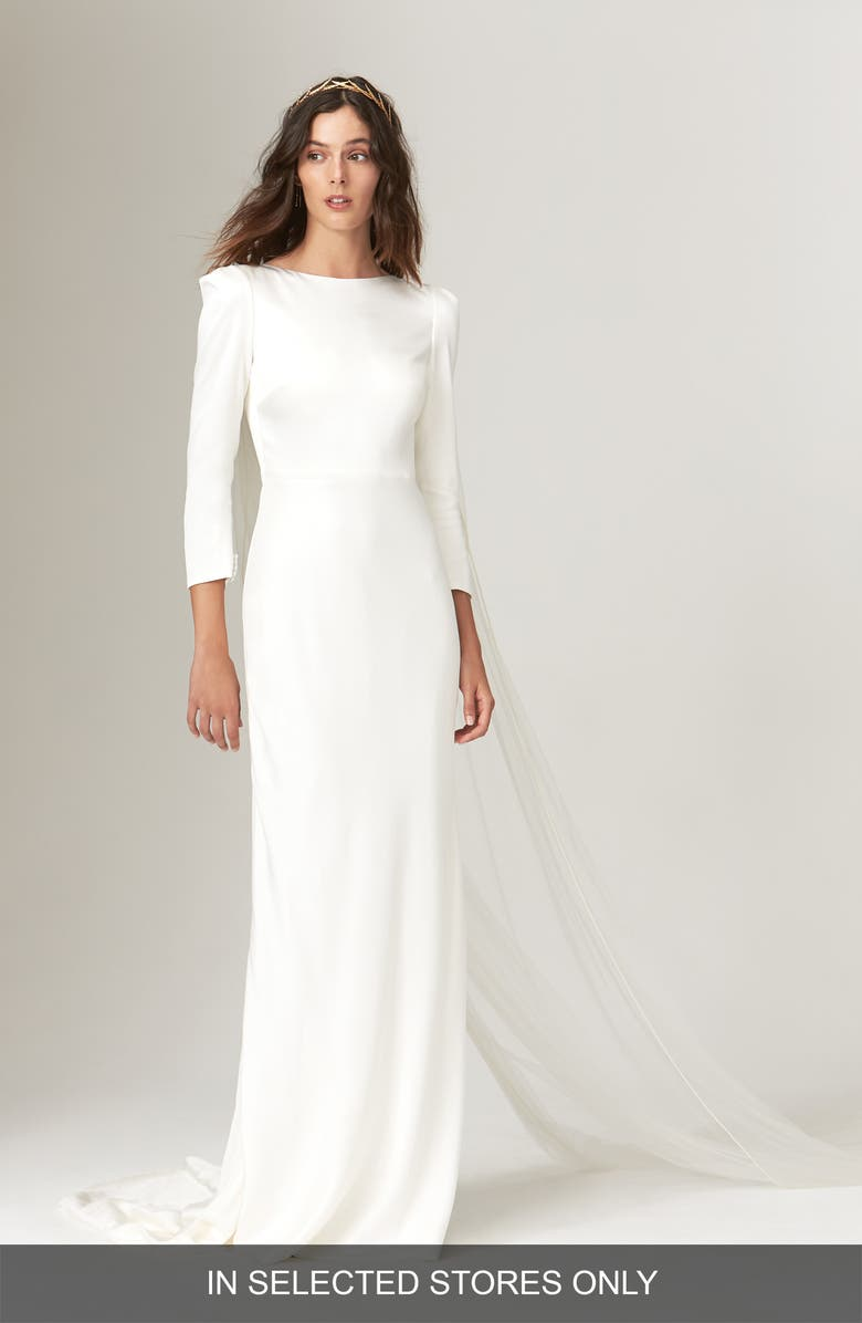 SAVANNAH MILLER Gwendolyn Long Sleeve Open Back Wedding Dress, Main, color, IVORY