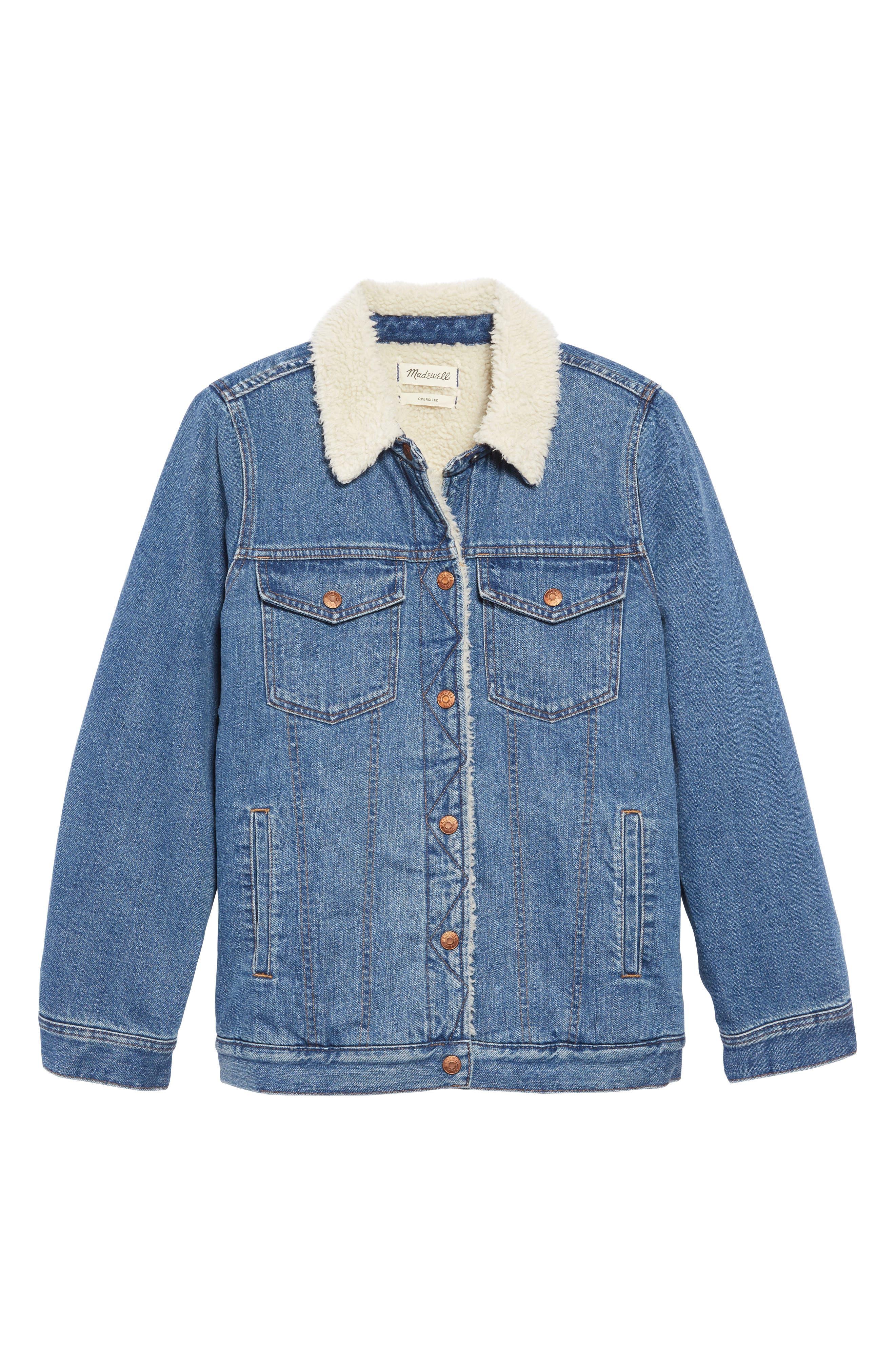 Madewell Coats Faux Shearling Trim Oversize Denim Jacket