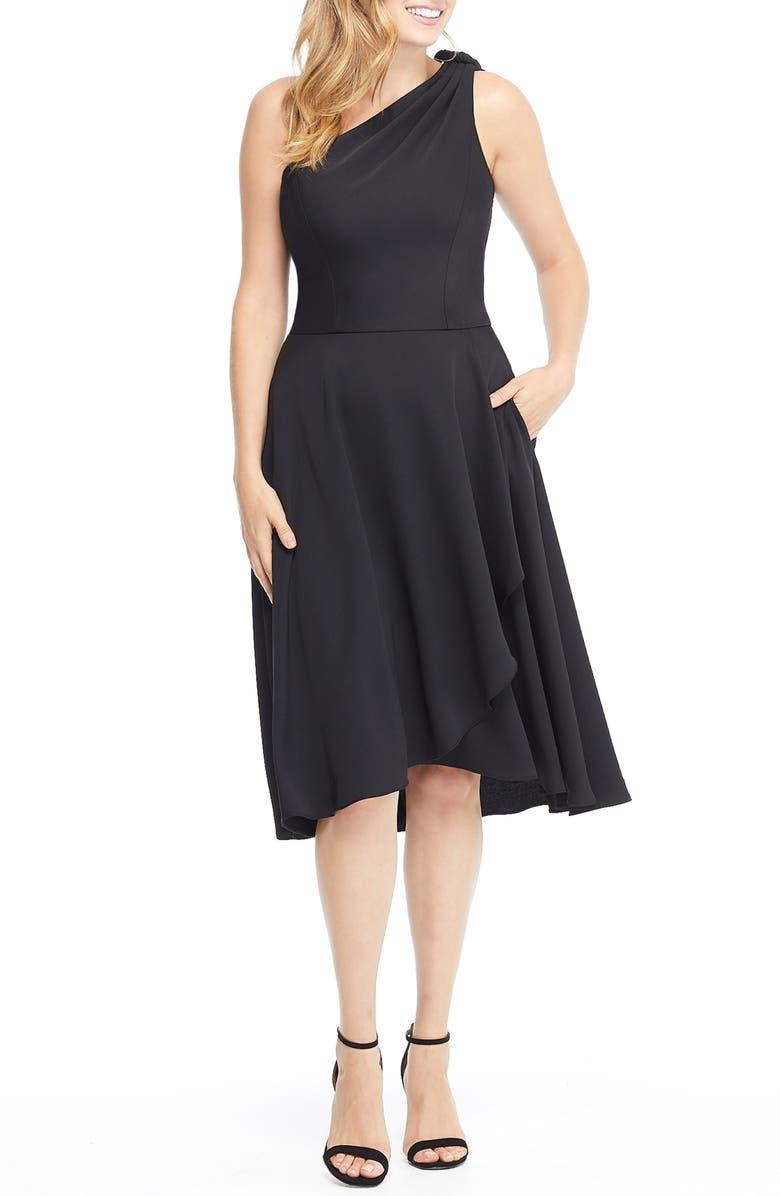 GAL MEETS GLAM COLLECTION Octavia Summer Crepe One-Shoulder Dress, Main, color, 001