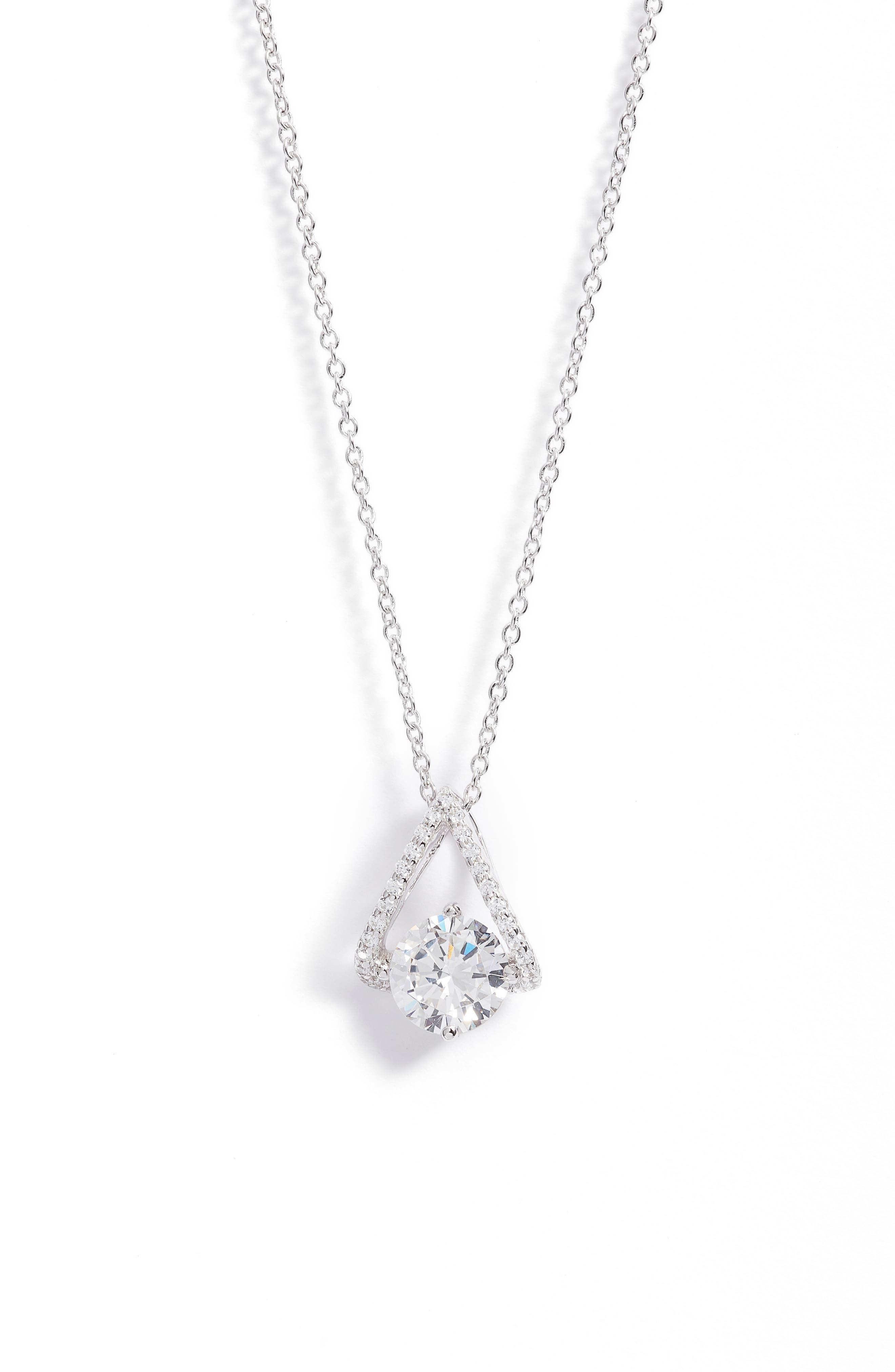 Simulated Diamond Pendant Necklace
