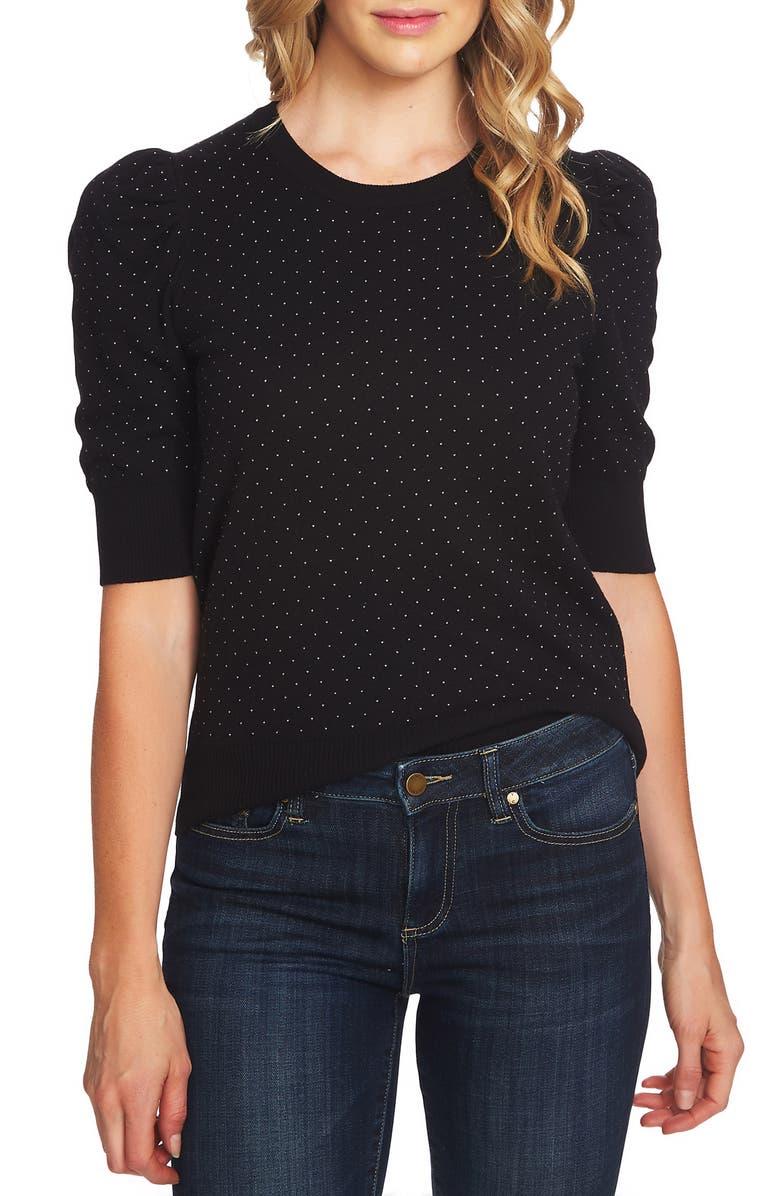 CECE Puffed Sleeve Jacquard Sweater, Main, color, 001