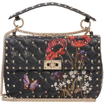 Valentino Garavani Medium Spike. it Beaded Leather Shoulder Bag - Black