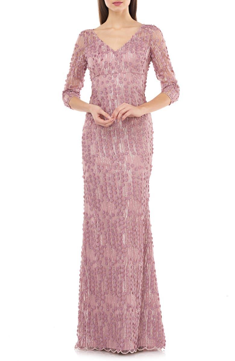 CARMEN MARC VALVO INFUSION 3D Petal Evening Gown, Main, color, DUSTY ROSE