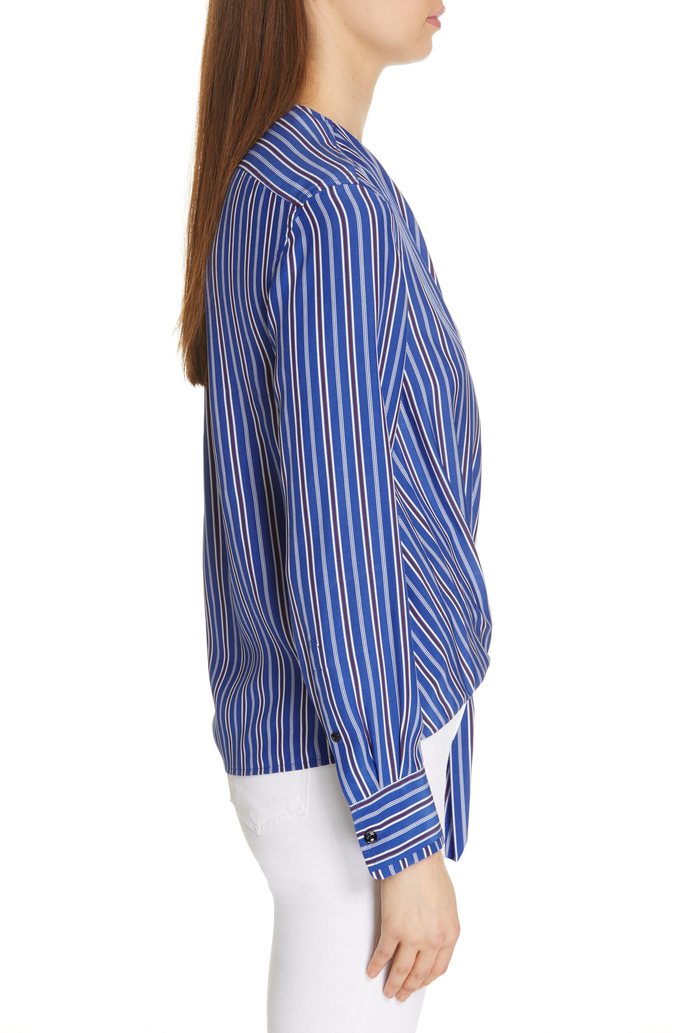 ,                             Felix Stripe Silk Wrap Top,                             Alternate thumbnail 3, color,                             BLUE MULTI