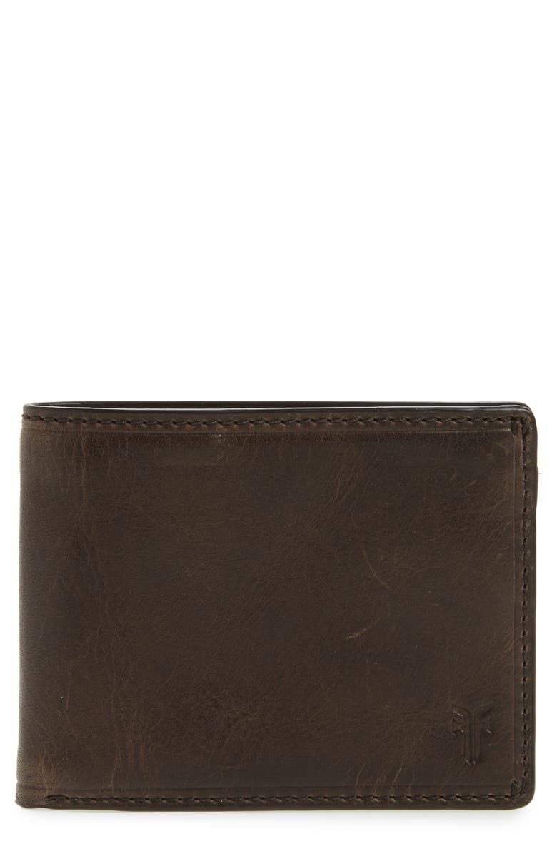FRYE Logan Leather Wallet, Main, color, SLATE