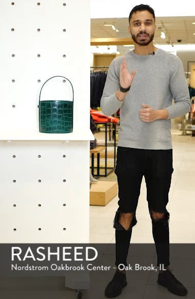 Bissett Croc Embossed Leather Bucket Bag, sales video thumbnail