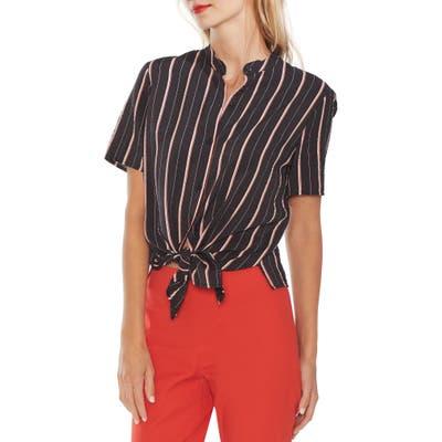 Vince Camuto Stripe Button Front Shirt, Black