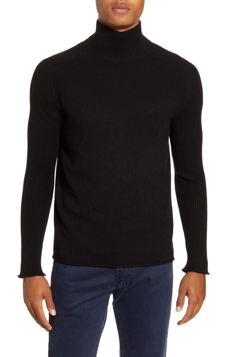 BILLY REID Regular Fit Cashmere Mock Neck Sweater, Main, color, BLACK