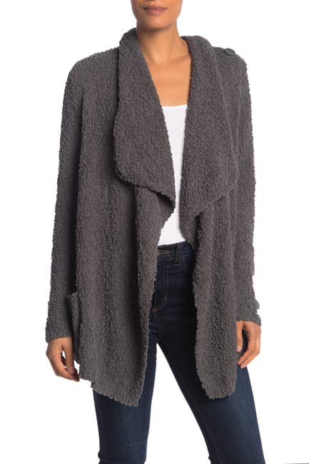 Image of Bobeau Boucle Popcorn Draped Button Cardigan