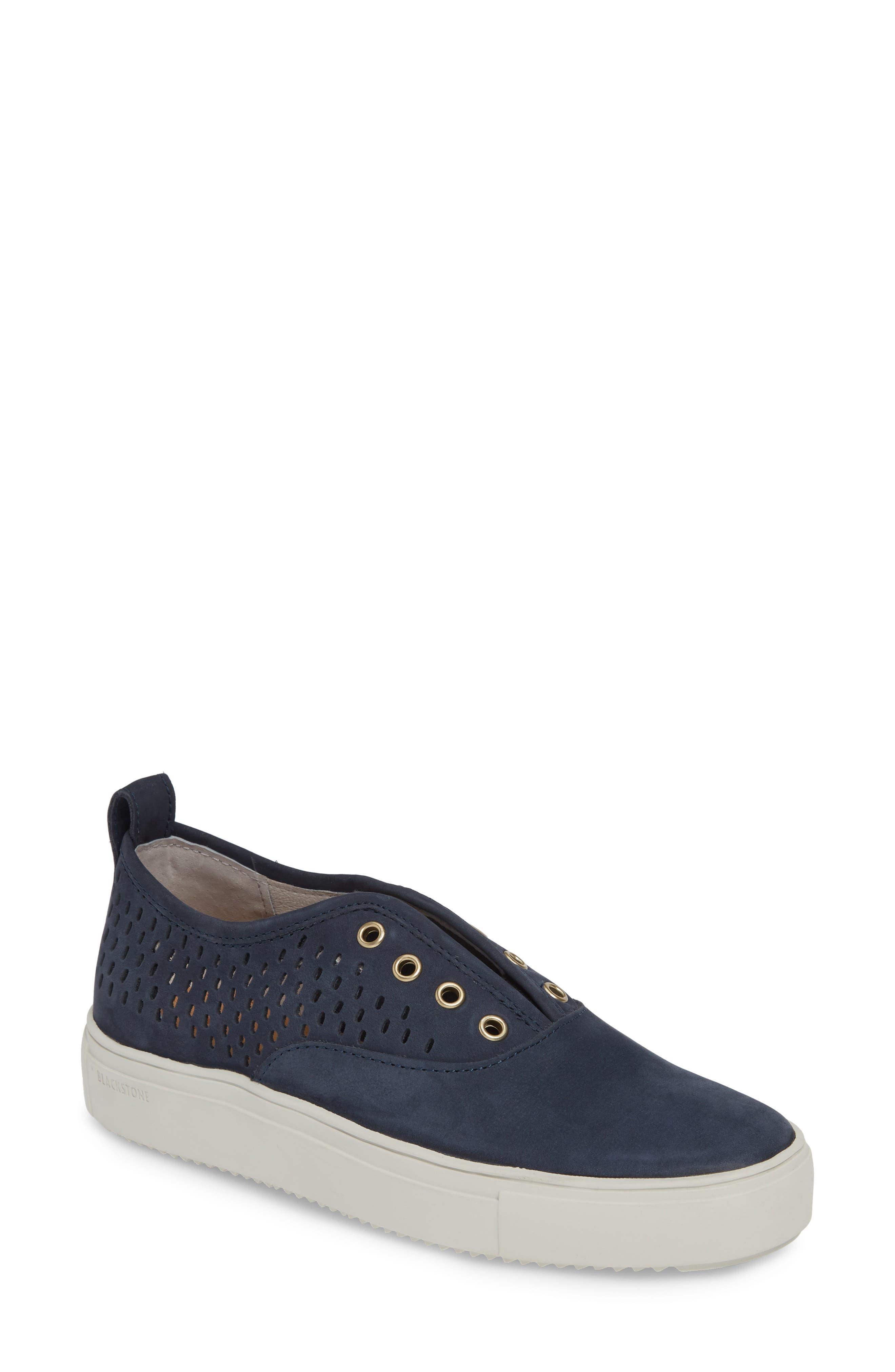 Blackstone Rl67 Laceless Perforated Sneaker, Blue