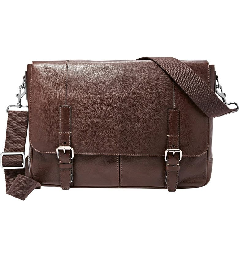 FOSSIL 'Graham' Leather Messenger Bag, Main, color, 201