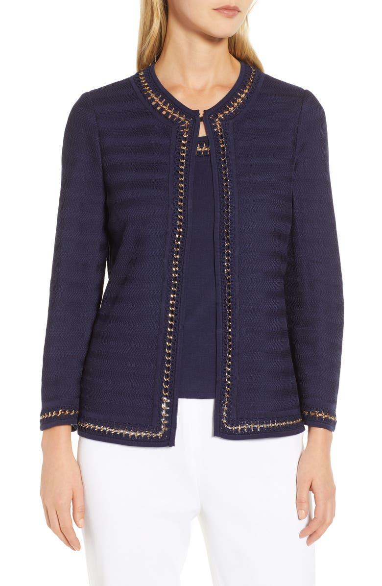 MING WANG Knit Jacket, Main, color, 404