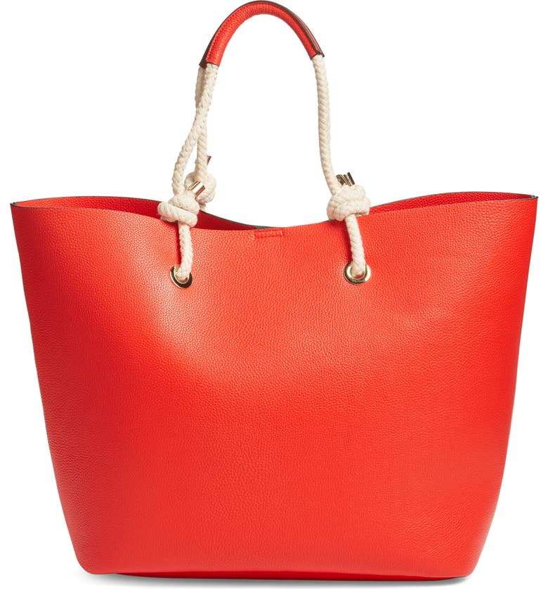 PHASE 3 Rope Handle Faux Leather Tote, Main, color, RED BLOOM