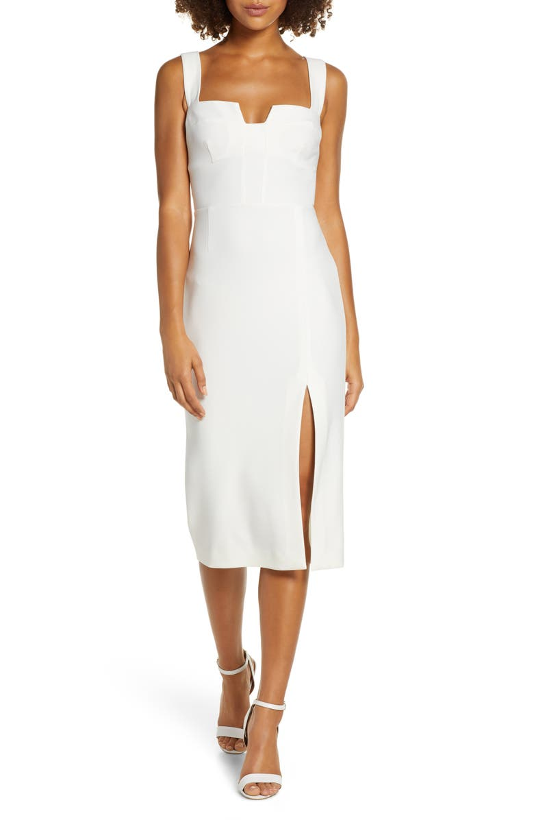 FINDERS KEEPERS Luna Front Slit Sheath Dress, Main, color, IVORY