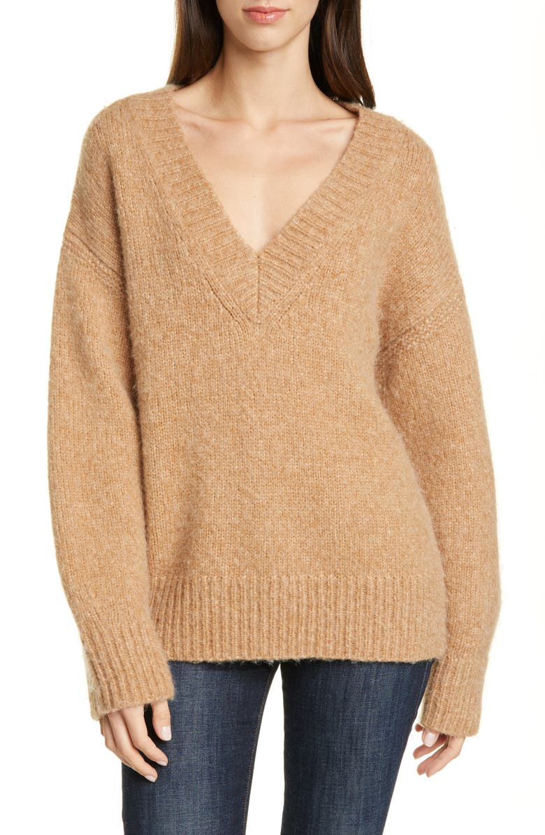 DVF Carmella V-Neck Wool Blend Sweater, Main, color, CAMEL