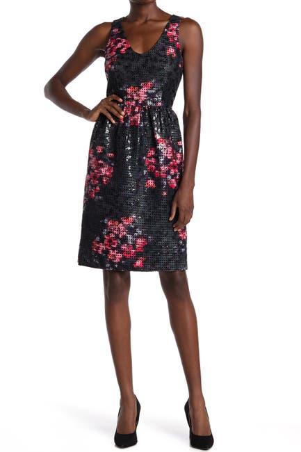 Image of trina Trina Turk Sequin Embellished Floral Lattice Dress