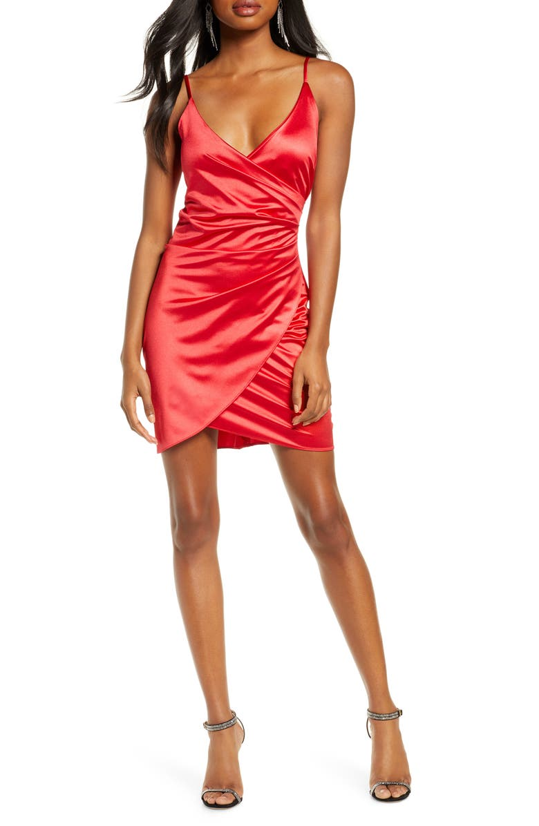 SEQUIN HEARTS Sleeveless Satin Envelope Cocktail Dress, Main, color, RED