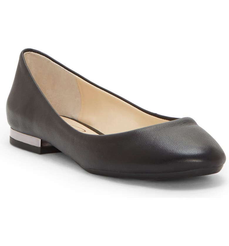 JESSICA SIMPSON Ginly Ballet Flat, Main, color, BLACK LEATHER