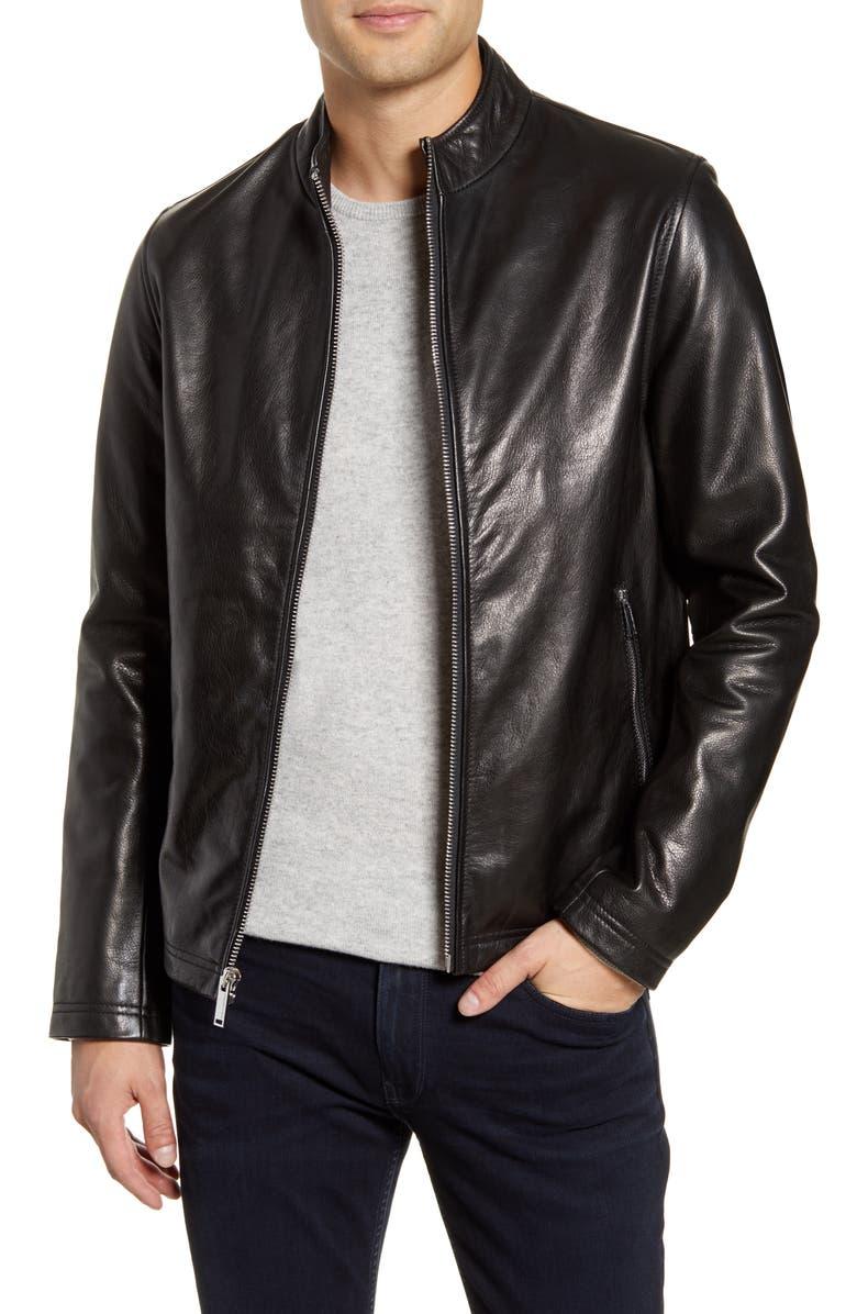 KARL LAGERFELD PARIS Leather Racer Jacket, Main, color, BLACK