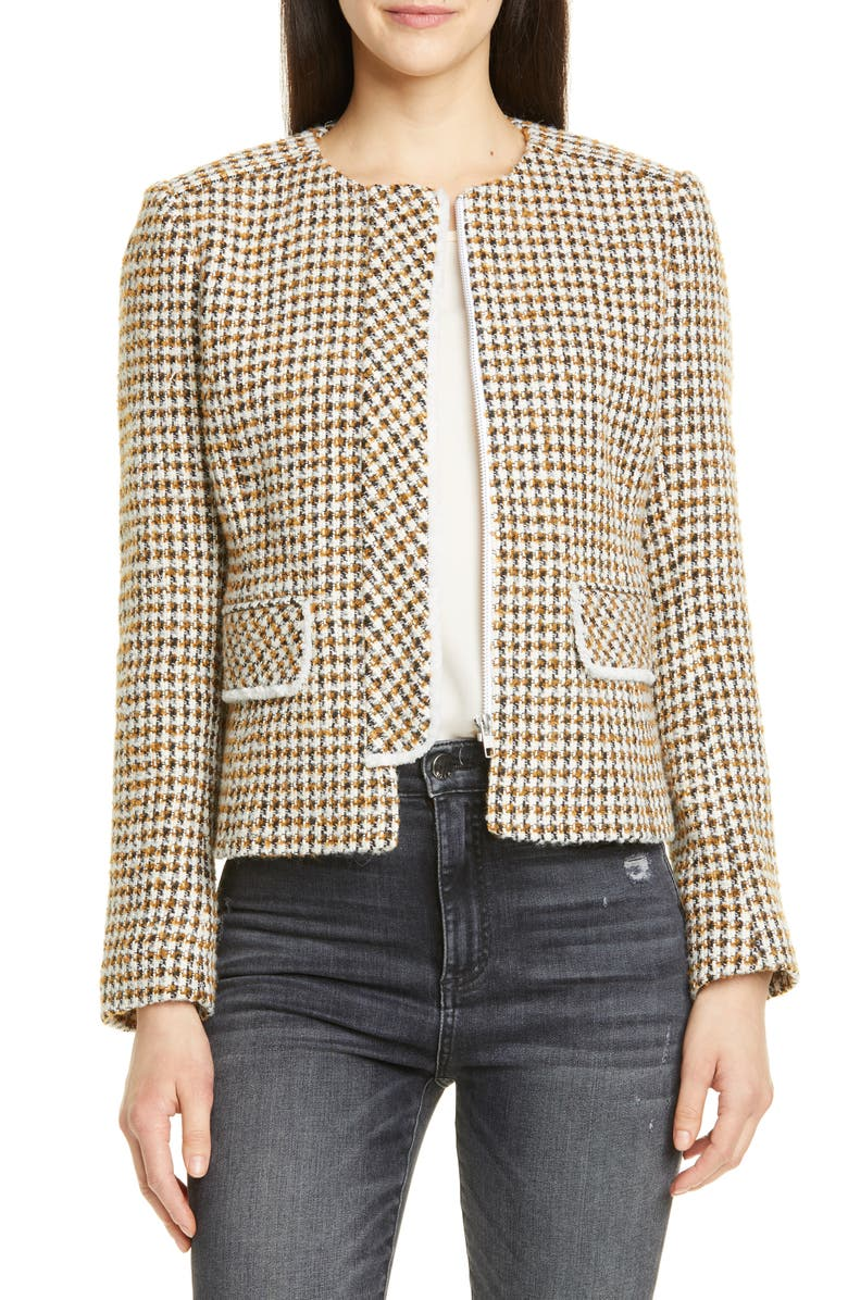 HELENE BERMAN Judy Tweed Jacket, Main, color, BROWN/ BLACK/ CREAM