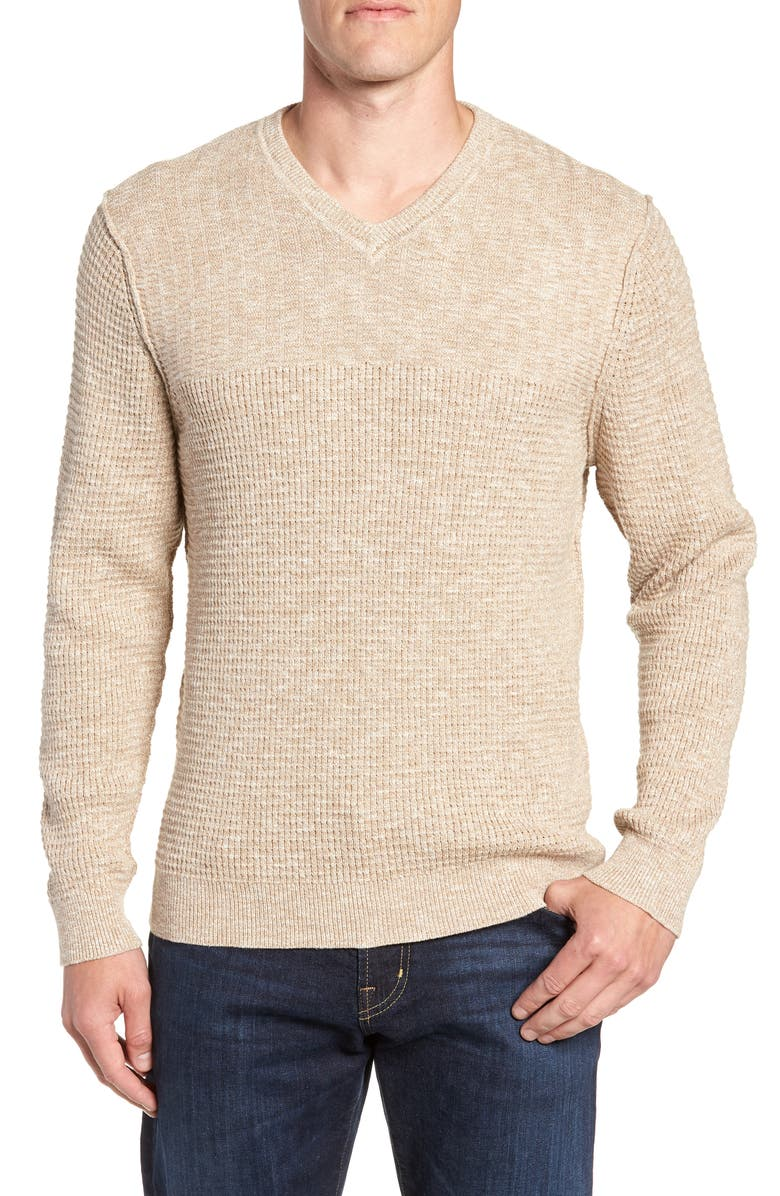 TOMMY BAHAMA Isidro V-Neck Classic Fit Sweater, Main, color, GOLDEN HONEY