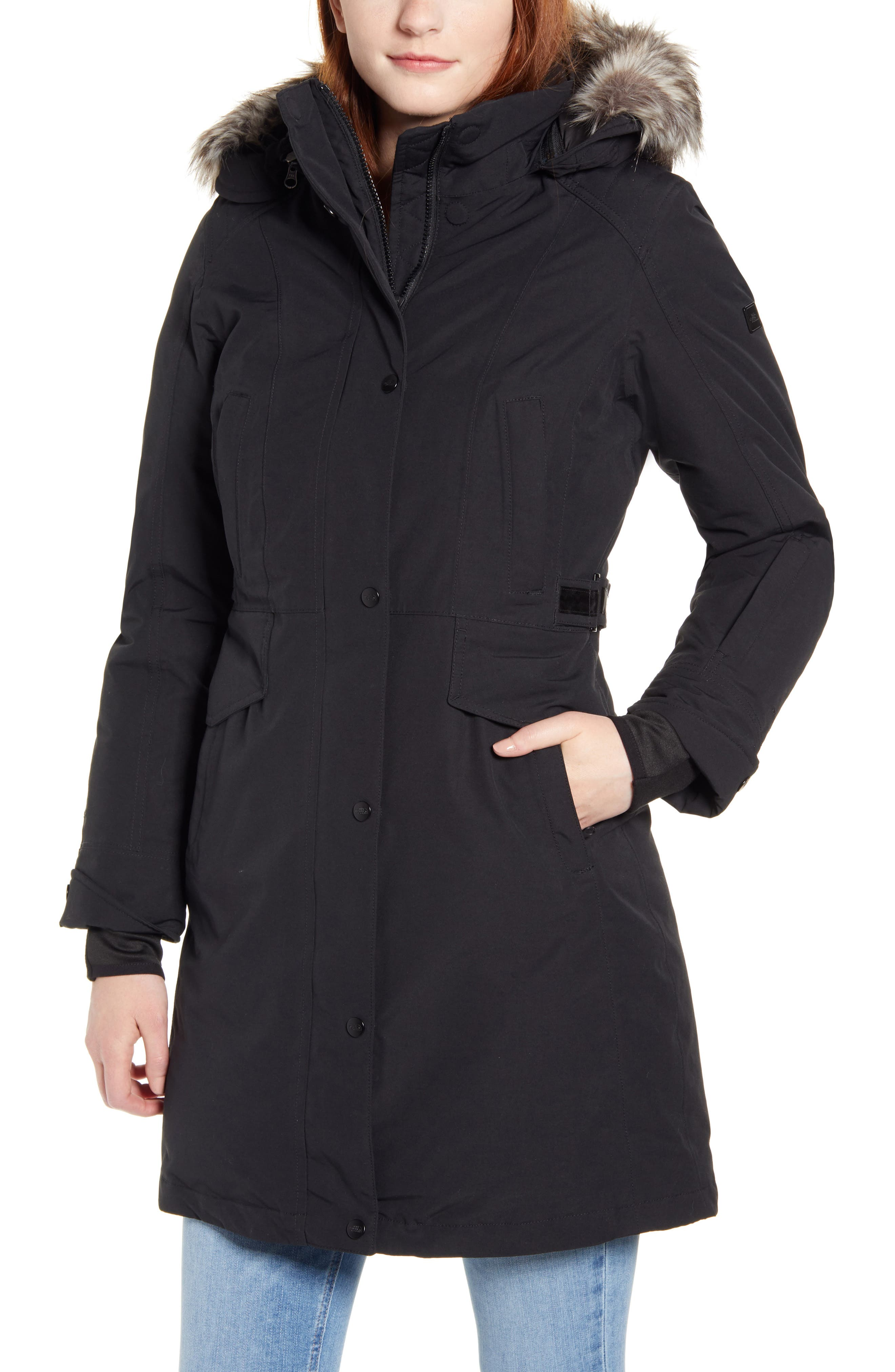 The North Face Tremaya Waterproof Down Parka with Faux Fur Trim