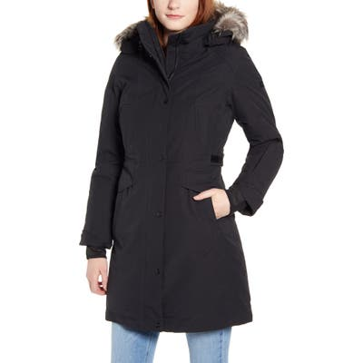 The North Face Tremaya Waterproof Down Parka With Faux Fur Trim, Black