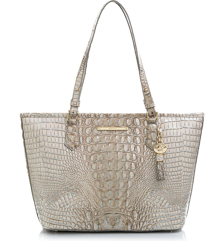 BRAHMIN 'Medium Asher' Leather Tote, Main, color, STERLING