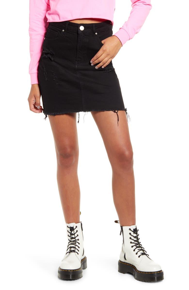 PROSPERITY DENIM Raw Hem Denim Miniskirt, Main, color, BLACK