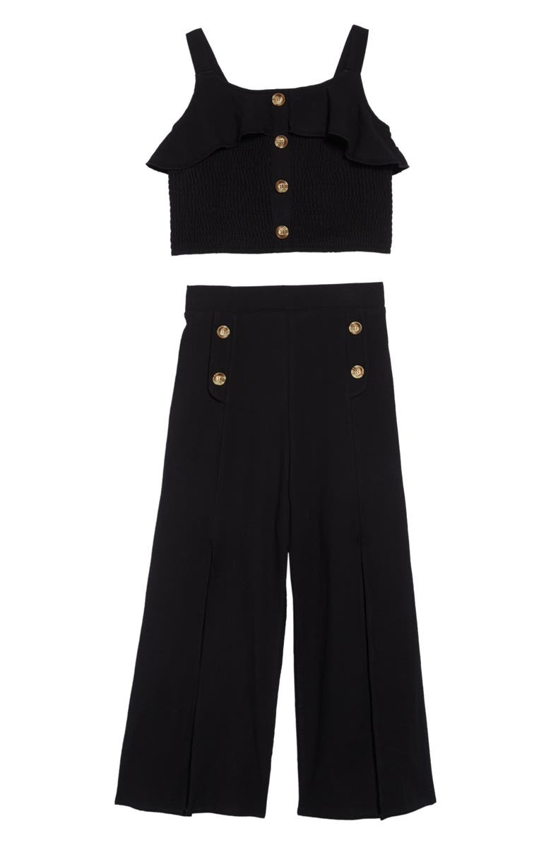 TRULY ME Ruffle Top & Culotte Pants Set, Main, color, BLACK