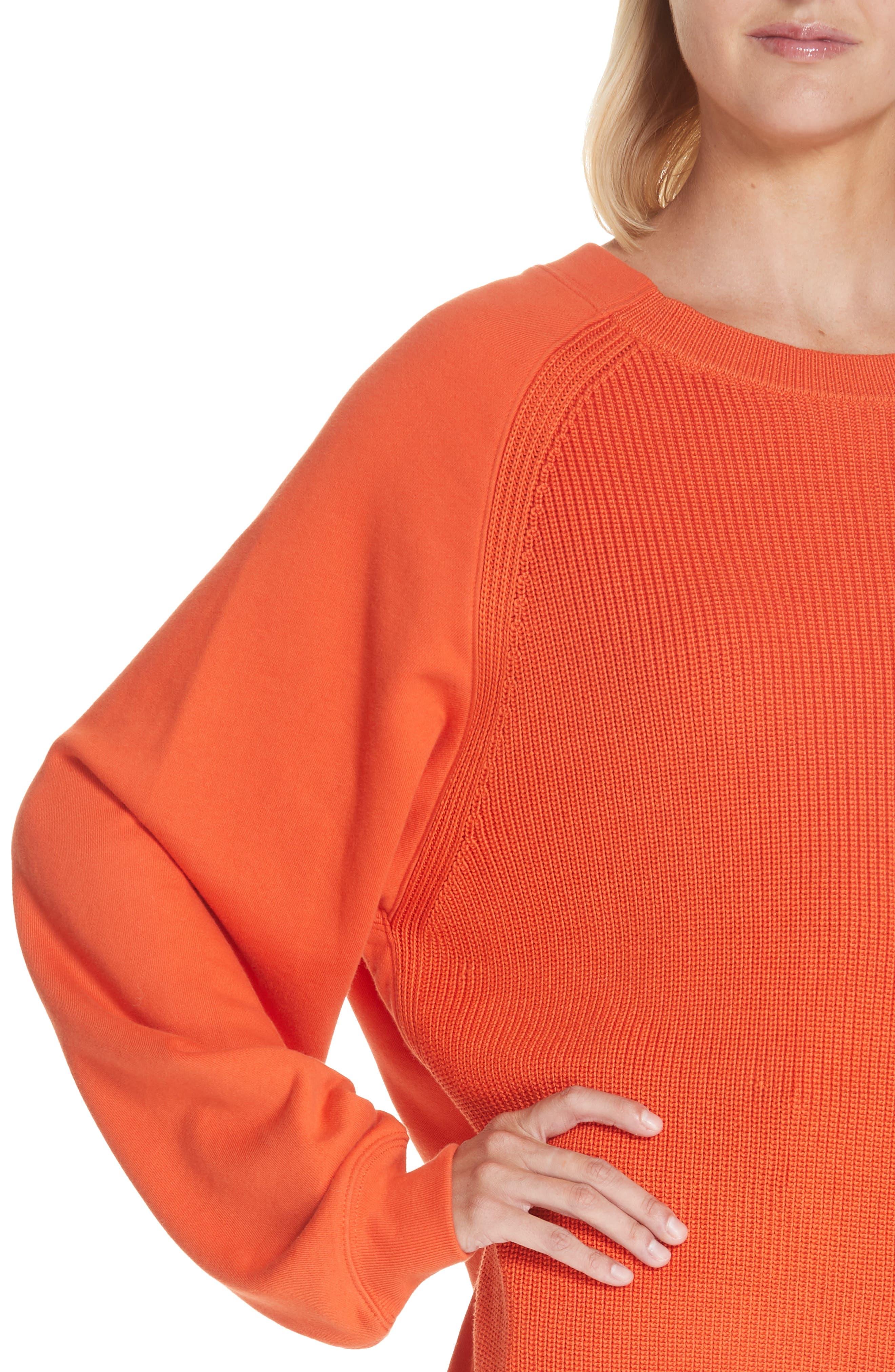 ,                             Sweater Panel Sweatshirt,                             Alternate thumbnail 4, color,                             MAGMA