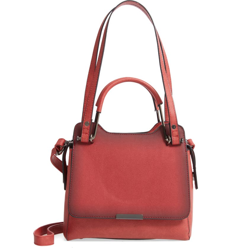 KNOTTY Faux Leather Satchel, Main, color, RED
