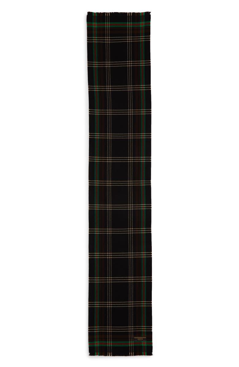 GUCCI Weblacks Tartan Plaid Scarf, Main, color, BLACK/ RED