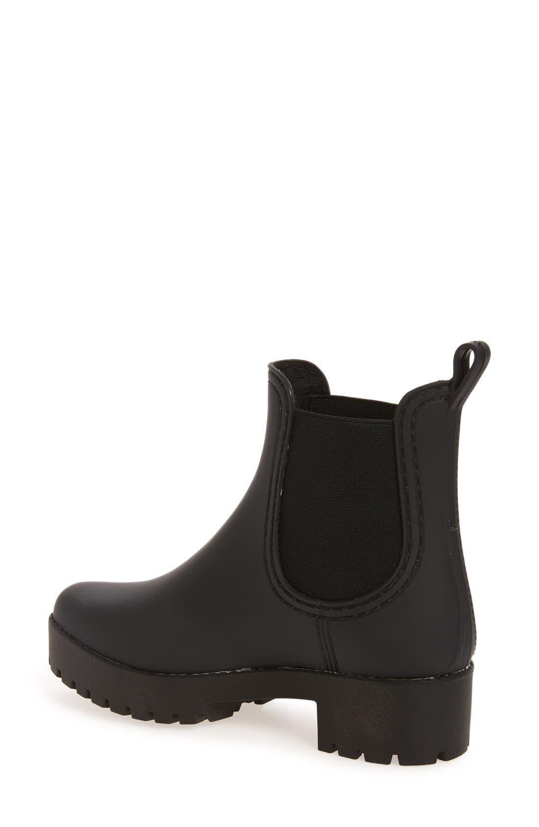,                             Cloudy Waterproof Chelsea Rain Boot,                             Alternate thumbnail 2, color,                             BLACK MATTE BLACK