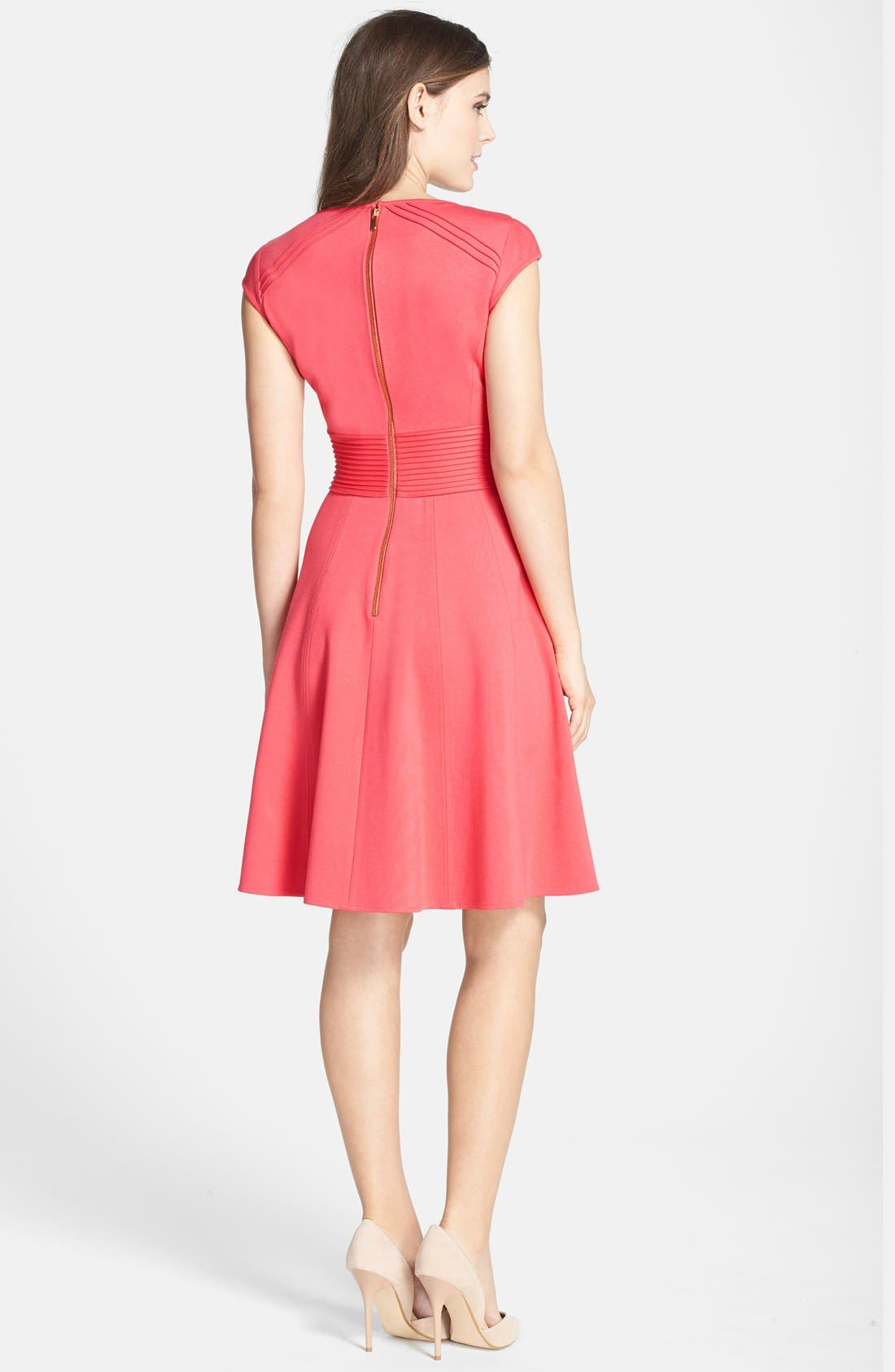 ,                             Pintucked Waist Seamed Ponte Knit Fit & Flare Dress,                             Alternate thumbnail 9, color,                             950