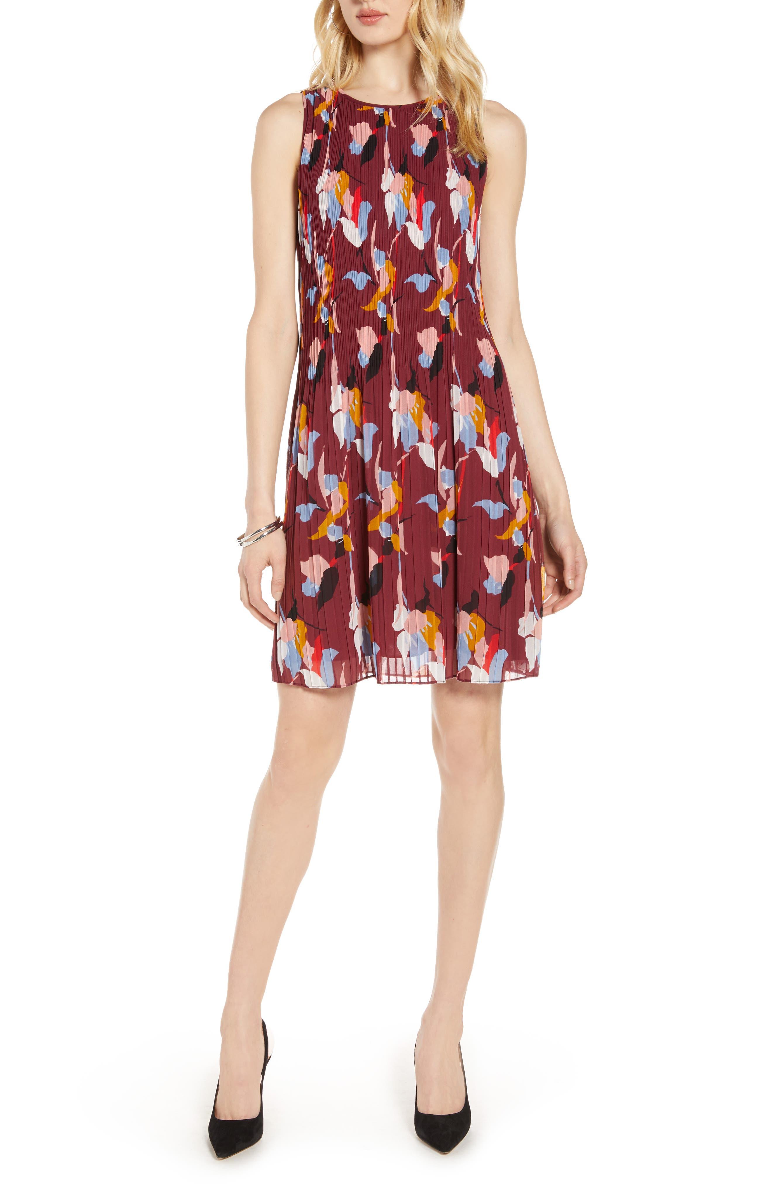Halogen® Pleated Sleeveless Shift Dress (Regular & Petite)