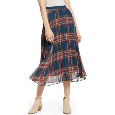 Band Of Gypsies Come As You Are Plaid Midi Skirt, Blue