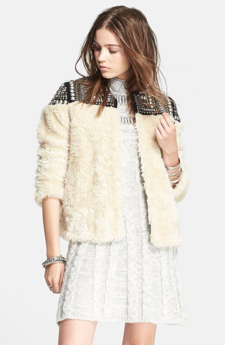 FREE PEOPLE Embellished Faux Fur Jacket, Main, color, 103